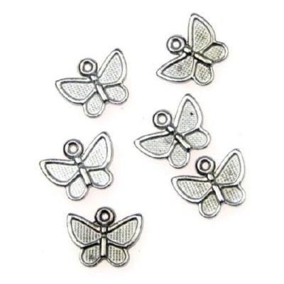 Висулка метална пеперуда 10х13x2 мм дупка 1 мм цвят сребро -10 грама