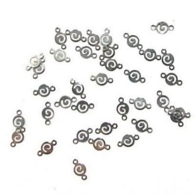 Свързващ елемент метал фигурка 4.8x8.8 мм дупка 1 мм цвят сребро -50 броя