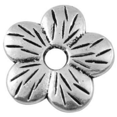 Мънисто метал цвете 22x2 мм дупка 4.5 мм цвят сребро -5 броя