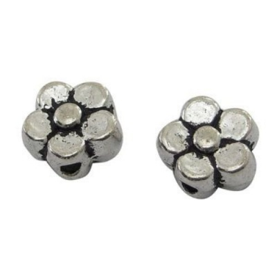 Мънисто метал цвете 5x5x3 мм дупка 1 мм цвят сребро -30 броя