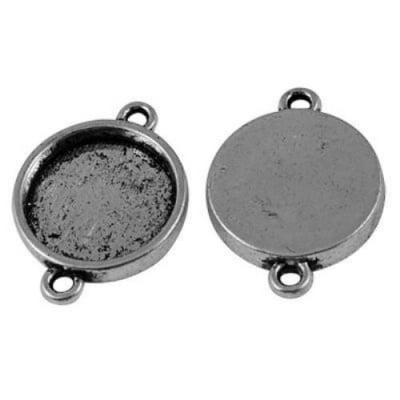 Метална основа свързващ елемент 26x19x3.5 мм плочка 15 мм дупка 2 мм цвят старо сребро -5 броя