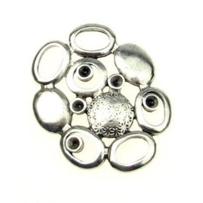 Свързващ елемент метал елипси 33.5x27x3.5 мм дупка 5x7 мм цвят сребро