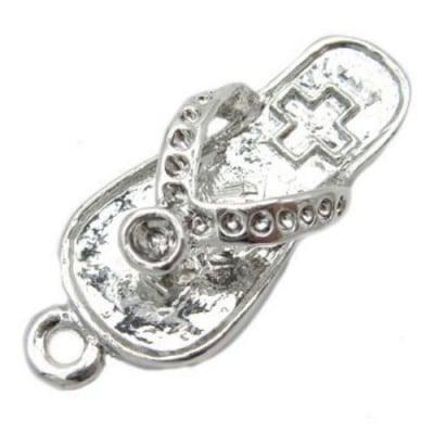 Висулка метална чехълче цвят сребро 14x33.5x8 мм дупка 2 мм цвят сребро -2 броя