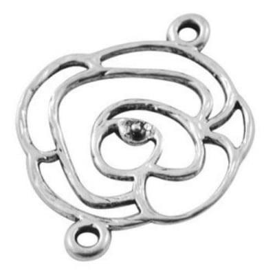 Свързващ елемент метал цвете 26x20x1 мм отвор 2 мм цвят сребро -5 броя