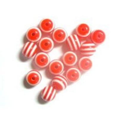 Топче 8 мм отвор 2 мм резин червено -50 броя