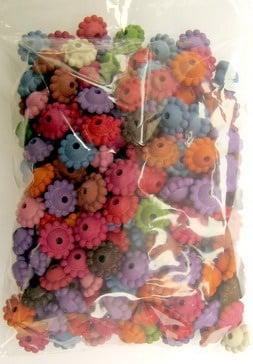 Мънисто имитация дърво диск цвете 9х5.5мм дупка 2 мм -50 грама ~ 150 броя