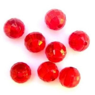 Мънисто кристал топче 14 мм дупка 2 мм многостенно червено -50 грама