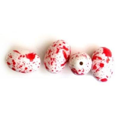 Яйце бяло с боя червена 24х16мм. -50гр.