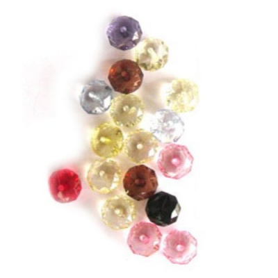 Мънисто кристал абакус 10x7 мм дупка 1 мм микс -50 грама ± 130 броя