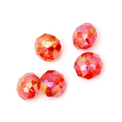Мънисто кристал абакус 8x6 мм дупка 1 мм червено дъга -50 грама ~ 240 броя