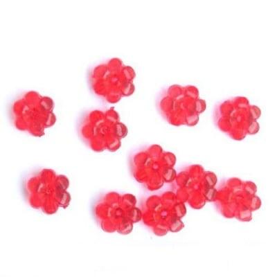 Мънисто кристал цвете 10x5 мм дупка 1 мм червено -50 грама ~ 165 броя