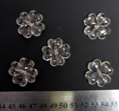 Мънисто кристал детелина 27х6 мм дупка 2 мм прозрачно - 50 грама -18 броя