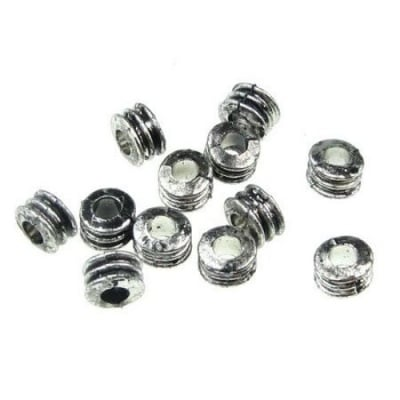 Мънисто метализе шайба 5x7 мм дупка 3 мм сребро -50 грама ±450 броя