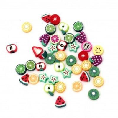 Мъниста фимо плодчета ръчна изработка 10~11x9~11x4~6 мм дупка 1.5 микс -10 броя