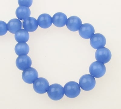 Наниз мъниста стъкло котешко око топче 8 мм дупка 1 мм синьо ~50 броя
