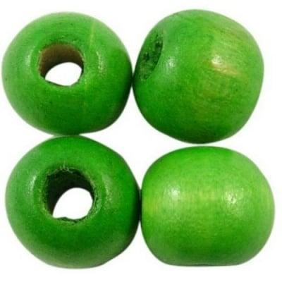 Мънисто дърво топче 14x16 мм дупка 4~5 мм зелено -50 грама ~38 броя
