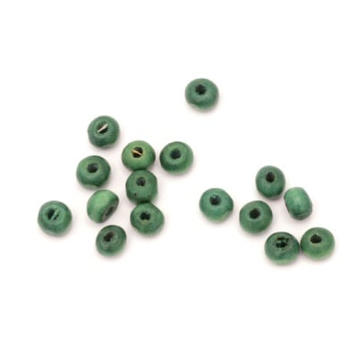 Мънисто дърво топче 5x6~7 мм дупка 2 мм зелено -50 грама ~650 броя