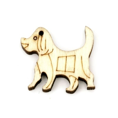 Висулка дървена куче 20x23x4 мм отвор 1 мм цвят дърво -10 броя