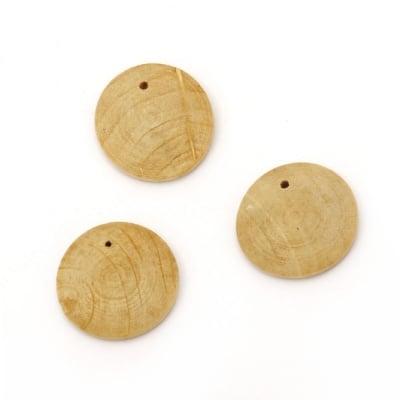 Висулка дърво кръг 25х5 мм дупка 1.5 мм цвят дърво -10 броя