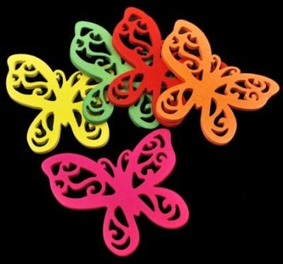 Висулка дървена пеперуда 49x45x2.5 мм цветна -10 броя