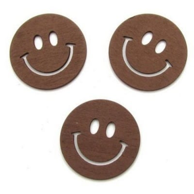 Висулка дървена усмивка 40x40x2 мм кафява -10 броя