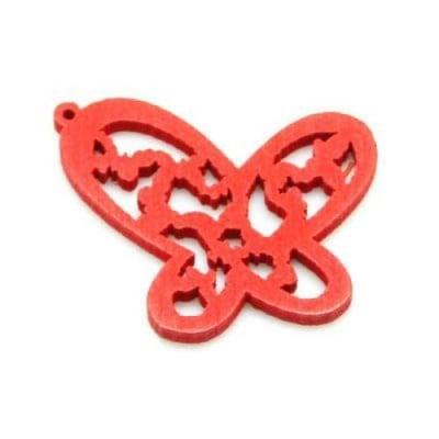 Висулка дървена пеперуда 27х25 мм дупка 1 мм червена -10 броя