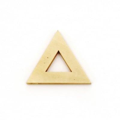 Висулка дърво за декорация триъгълник 32x37x4 мм дупка 2 мм цвят дърво - 5 броя