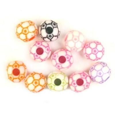 Мънисто плътно топче футбол 12 мм дупка 3.5 мм МИКС -50 грама ~ 60 броя