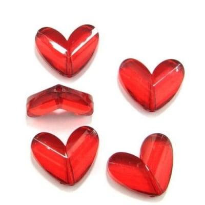 Сърце 33x27мм. прозрачно червено - 50 грама