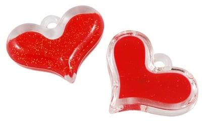 Висулка кристал сърце 30x38x9 мм дупка 4 мм с блестящ пълнеж червен -50 гр -8 броя