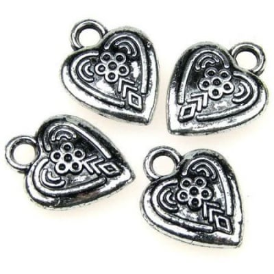 Висулка метализе сърце 19x15 мм дупка 3 мм сребро -50 грама ~80 броя