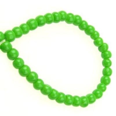Наниз мъниста стъкло топче 4 мм плътно зелено -80 см ~240 броя