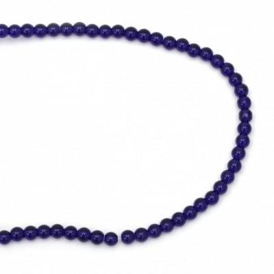 Наниз мъниста стъкло имитация АХАТ син топче 6 мм ~67 броя