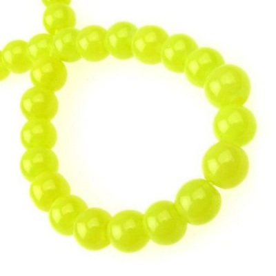 Наниз мъниста стъкло топче 8 мм имитация жадеит жълт ~80 см ~115 броя