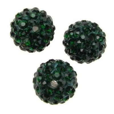 Мънисто шамбала полимер с кристали 12 мм дупка 2 мм зелено тъмно