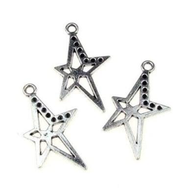 Висулка метална звезда 37x20x1.5 мм дупка 2.5 мм цвят сребро -5 броя