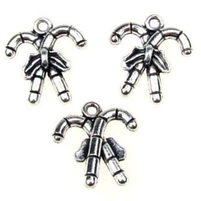 Висулка метална коледни бастунчета 18.5x17x5 мм дупка 1.5 мм цвят сребро -5 броя