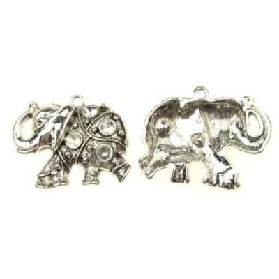 Висулка метална слон 49x39.5x7 мм дупка 3 мм цвят старо сребро -2 броя