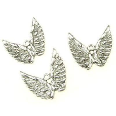 Висулка метална крилa 26.5x29x2 мм дупка 2.5 мм цвят старо сребро -5 броя