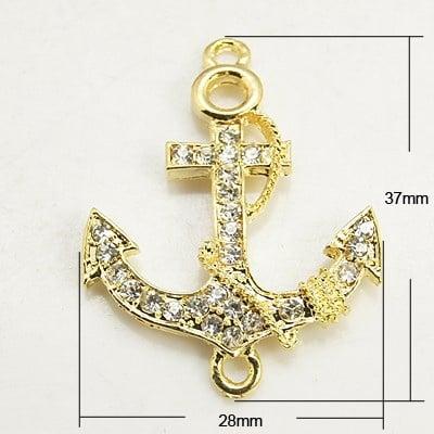 Свързващ елемент метал с кристали котва 37x28x4 мм дупка 2 мм цвят злато