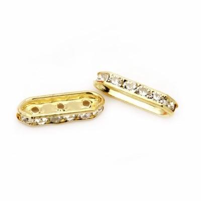 Разделител метал с кристали 21x6.5x4 мм с 3 дупки 2 мм цвят злато -10 броя