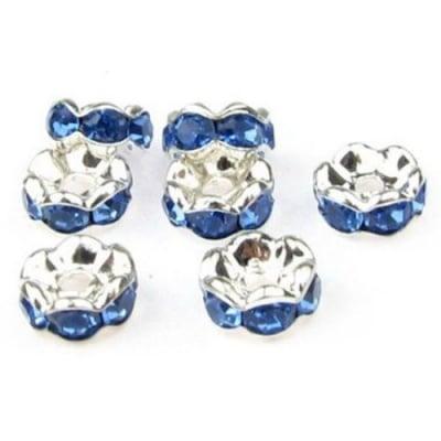 Шайба метал със сини кристали зиг заг 6x3 мм дупка 1.5 мм (качество А) цвят бял -10 броя