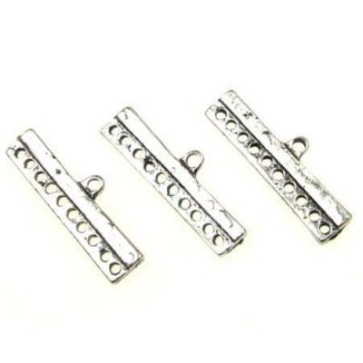 Разделител метал 32x26x6 мм с 10 дупки 1.5~2 мм цвят сребро -5 броя