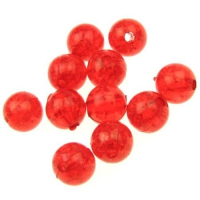 Мънисто кракъл топче 8 мм дупка 1 мм червено -20 грама ~ 71 броя