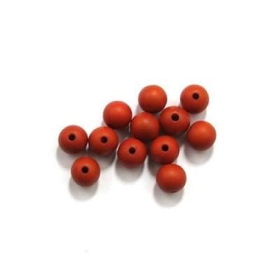 Мънисто имитация дърво топче 10 мм дупка 2 мм червено -50 гр ~ 91 броя