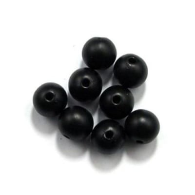 Мънисто имитация дърво топче 12 мм дупка 2.5 мм черно -50 грама ~ 50 броя