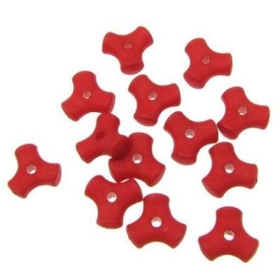Мънисто имитация дърво матирано триъгълник 10x4.5 мм дупка 2 мм червено -50 гр ~ 218 броя