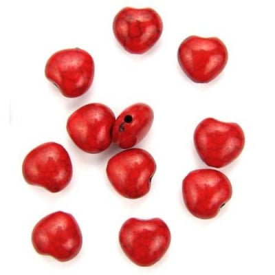 Мънисто имитация тюркоаз сърце 10x9x6 мм дупка 1.2 мм червено - 50 грама ~ 140 броя
