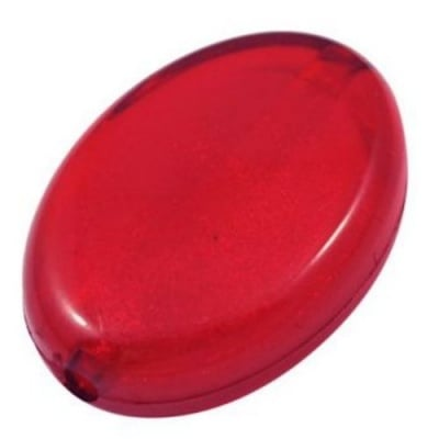Мънисто имитация сребърно фолио овал 21x29x9.5 мм дупка 2 мм червено -50 гр ~11 броя