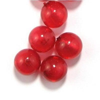 Мънисто имитация сребърно фолио топче 16 мм дупка 2 мм червено -50 гр ~21 броя